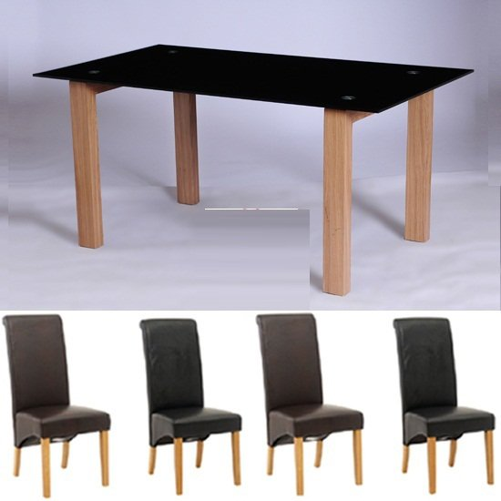 Alina large black glass dining table and 6 dining chairs for Large black dining room table