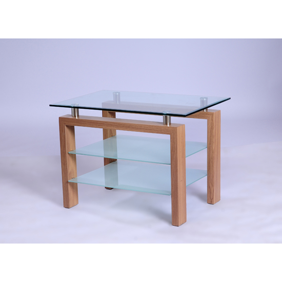 Alina Glass TV Stand With Wooden Legs
