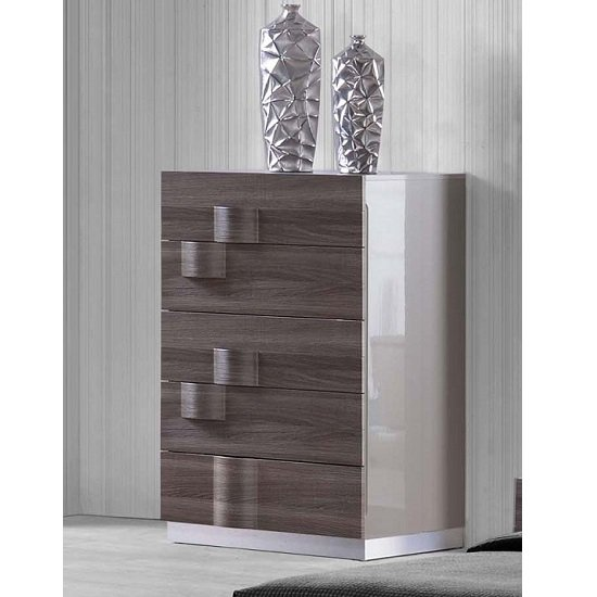 Swindon 5 Drawers Chest In Zebra Wood And Grey High Gloss