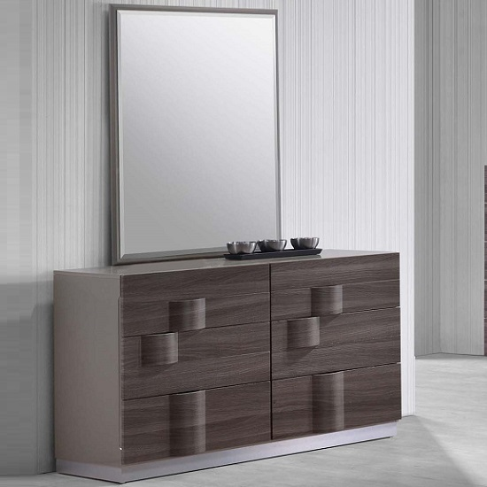 Read more about Swindon dressing table with mirror in zebra wood and grey gloss