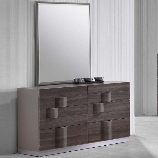 Swindon Dressing Table With Mirror In Zebra Wood And Grey Gloss_1