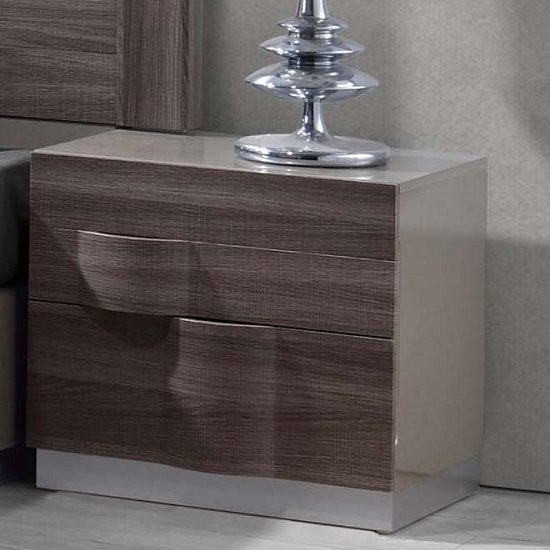 Read more about Swindon bedside cabinet in zebra wood and grey high gloss