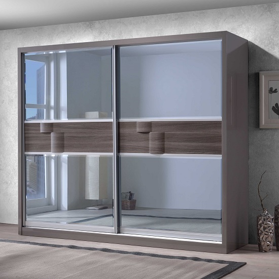 Read more about Swindon sliding wardrobe in zebra wood and grey high gloss