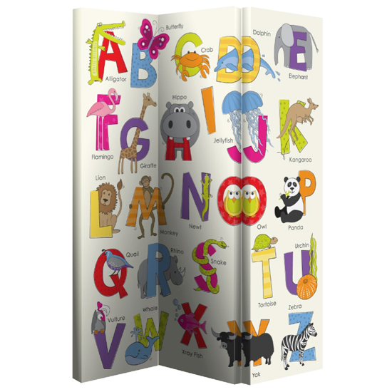 Alphabet Room Divider In Folding Canvas