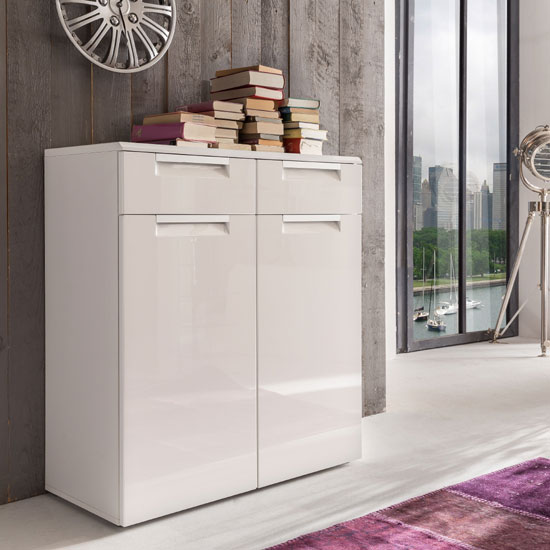 Smart Sideboard And Shoe Cabinet In White With 2 Gloss Doors