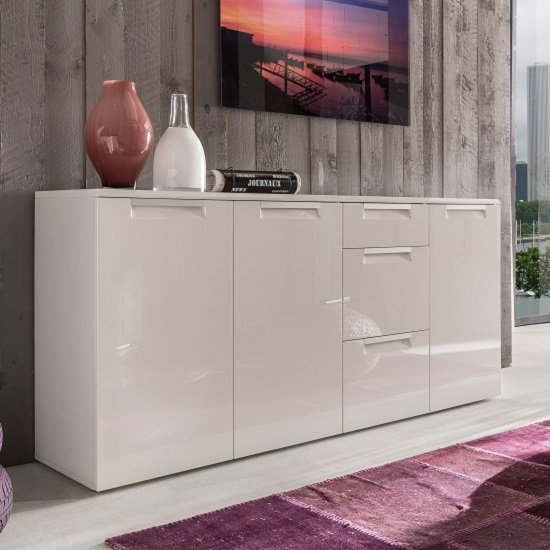 Smart Sideboard Large In White With 3 High Gloss Doors