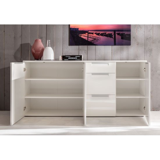 Smart Sideboard Large In White With 3 High Gloss Doors_2