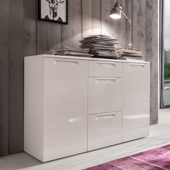 Smart Sideboard In White With 3 High Gloss Drawers