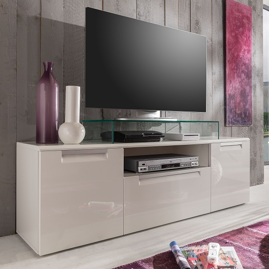 smart low board tv stand in white high gloss with 3 doors. Black Bedroom Furniture Sets. Home Design Ideas