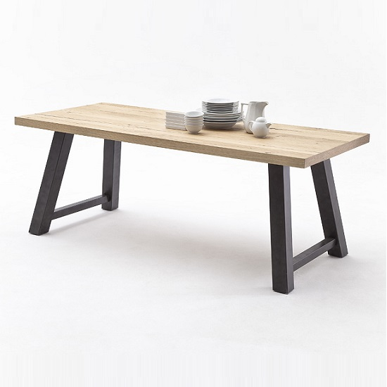 Alvaro Dining Table In Natural Oak And Antiklook Anthracite Base