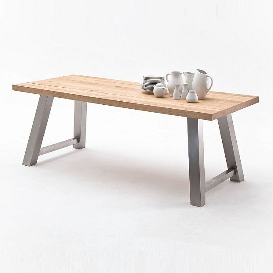 Alvaro Dining Table In Natural Oak And Brushed Stainless Steel