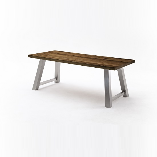 Alvaro Dining Table In Chocolate Oak And Brushed Stainless Steel