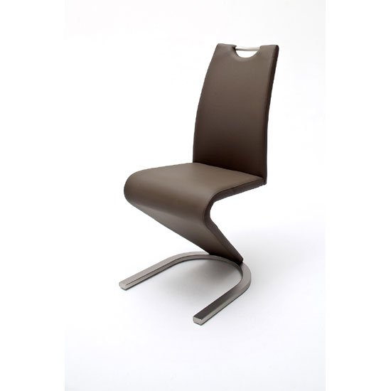 Amado Z Brown Faux Leather Metal Swinging Dining Chair