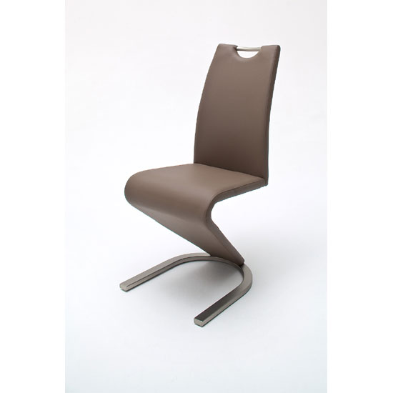 Read more about Amado z cappuccino faux leather metal swinging dining chair