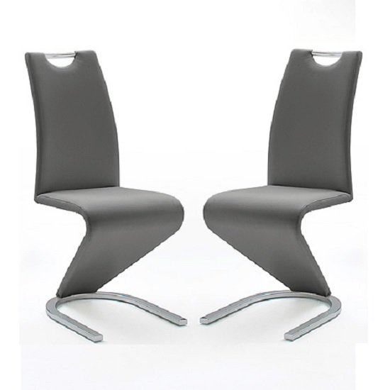 Amado Z Grey Faux Leather Dining Chair In A Pair