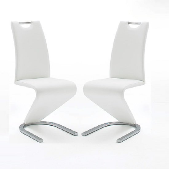 Amado Z Dining Chair In White Faux Leather In A Pair
