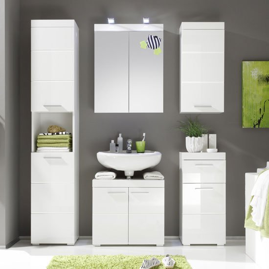 Amanda Tall Bathroom Cabinet In White With High Gloss