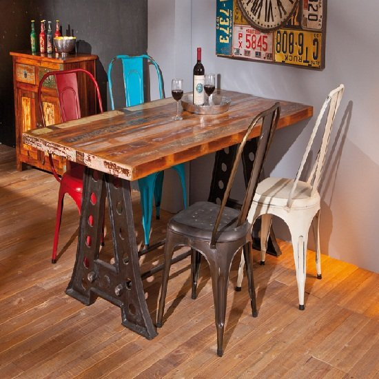 View Amar urban chic rectangular multi coloured dining table only