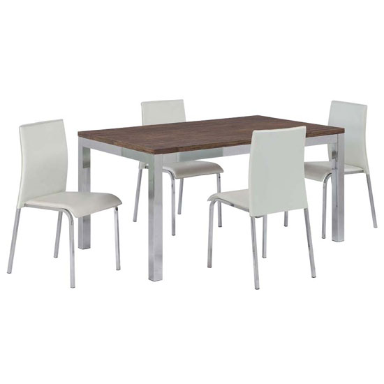 Danvy Walnut Grain Wooden Dining Table And 4 Dining Chairs