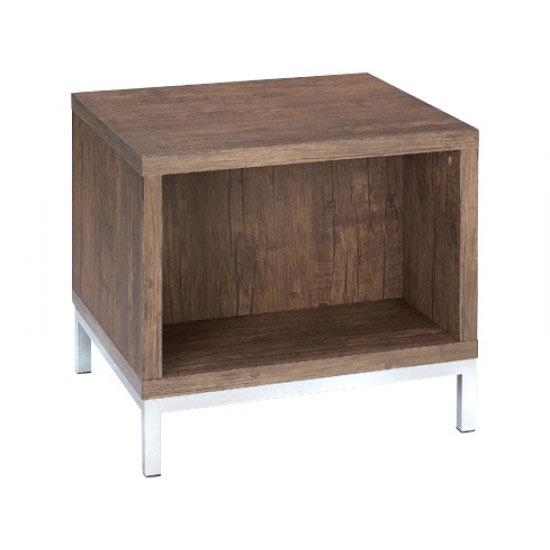 Danvy Walnut Grain Wooden Lamp Table With Shelf