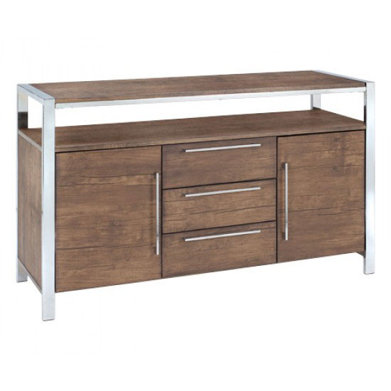 Danvy Walnut Grain 3 Drawers Sideboard With 1 Shelf And 2 Doors