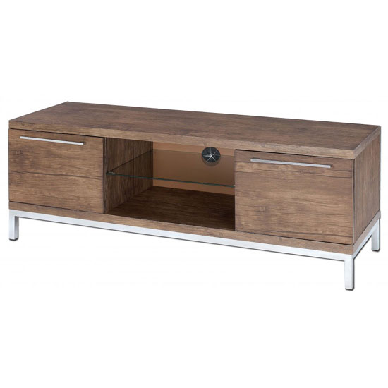Danvy Walnut Grain 2 Door Plasma TV Stand With Glass Shelf