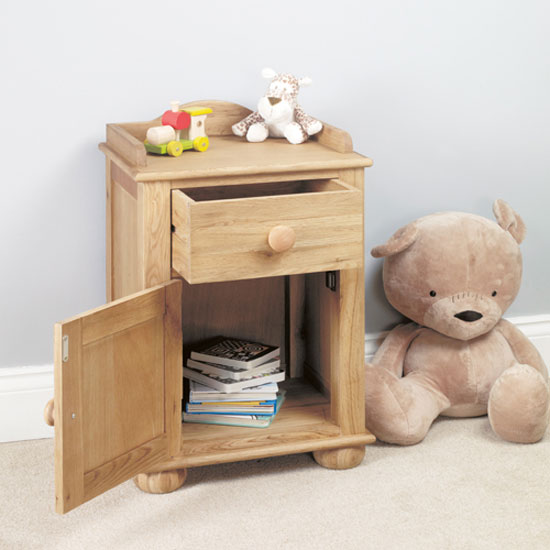 Amila Oak Wooden 1 Door 1 Drawer Childrens Bedside Cabinet