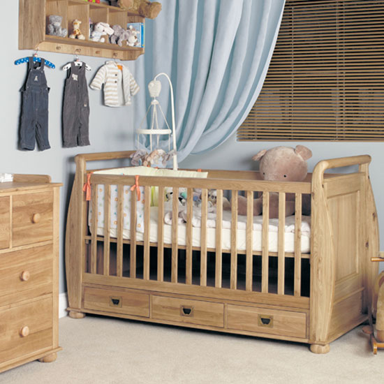 Amila Oak Wooden Childrens Cot Bed with Three Drawers