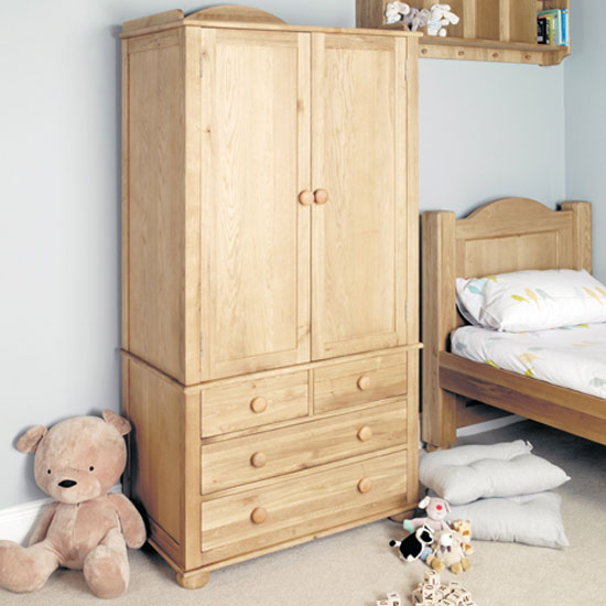 Amila Wooden Childrens Double Wardrobe in Oak