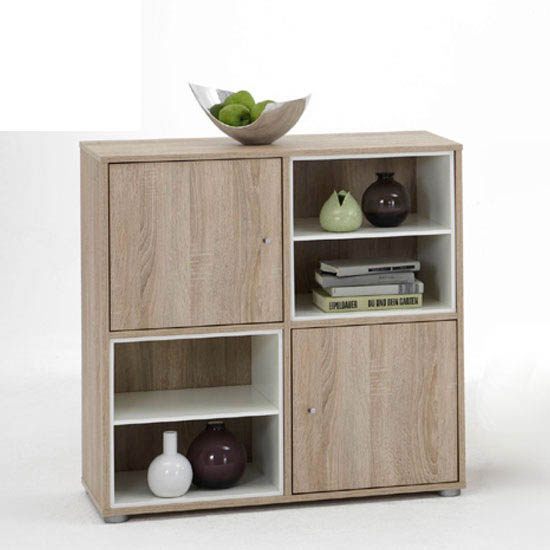 Amilia1 Chest In Oak And White With 2 Door And 2 Compartment