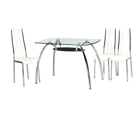 Ammarah Dining Table with Black Undershelf And 4 White Chairs