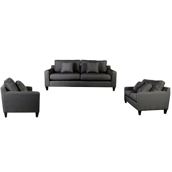 Angelic 3+2+1 Seater Sofa Set In Grey Fabric With Black Feet £1,099.95