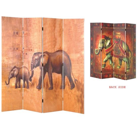 Kenya Wildlife 4 Panel Canvas Room Divider - Kenya Wildlife 4 Panel Canvas Room Divider 1353 Furniture