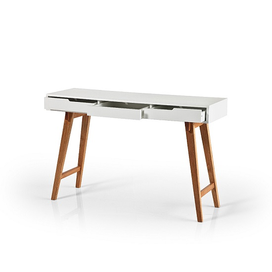Anke Wooden Console Table In White With Beech Legs_2