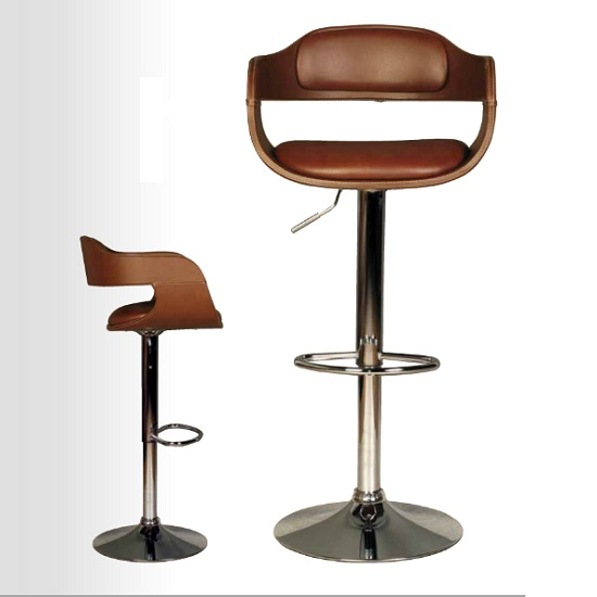 Haydon Bar Stool In Brown Faux Leather With Chrome Base_2