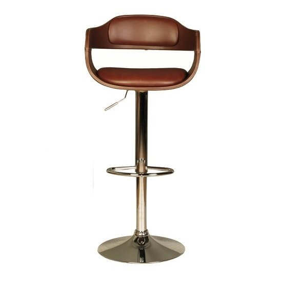 Haydon Bar Stool In Brown Faux Leather With Chrome Base