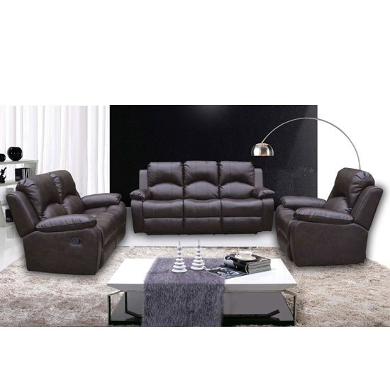 Antasia Bonded Leather 3 And 2 Seater Sofa Set In Brown