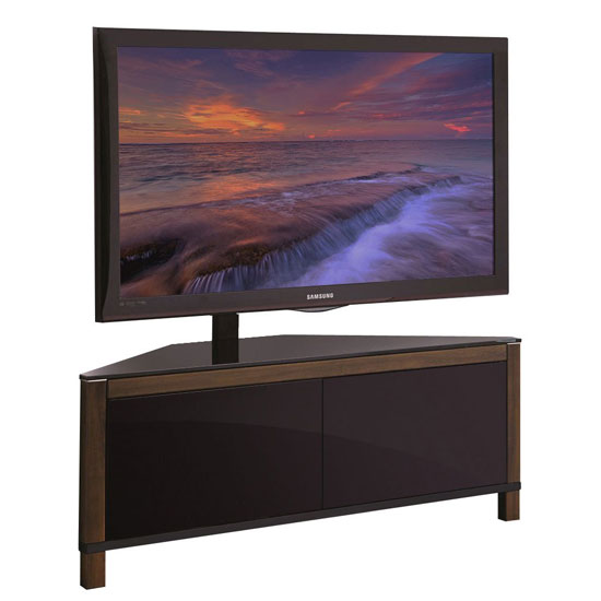Opus Corner TV Stand In Glass Top And High Gloss Black