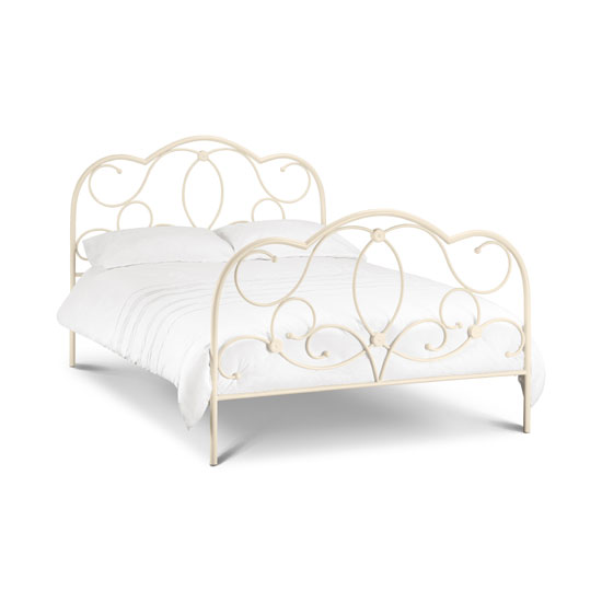 Arabel Metal Double Bed In Stone White Finish