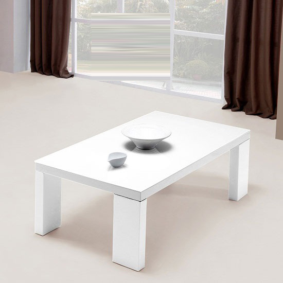 Giovanni Glass Top Coffee Table in White With High Gloss Legs