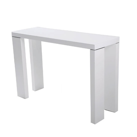 Giovanni glass top console table in white with high gloss for White and glass console table