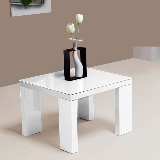 Giovanni Glass Top Lamp Table in White With High Gloss Legs