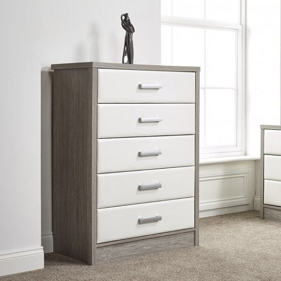 Triana Chest Of Drawers In Alpine White And Oak With 5 Drawers