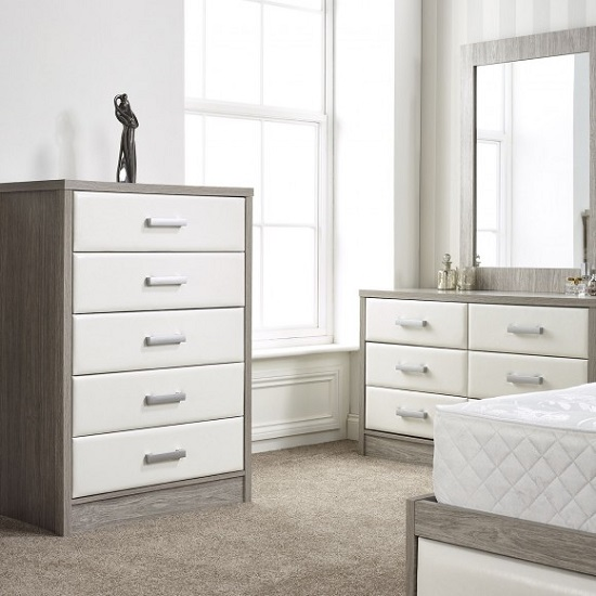 Triana Dressing Table With Mirror In Alpine White And Oak_2