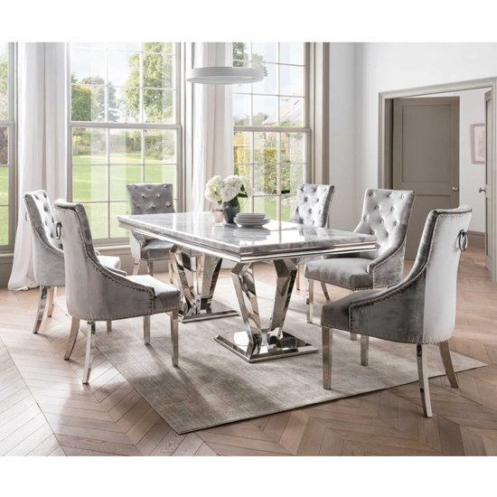 Arlesey Marble Dining Table In Grey With Stainless Steel Legs_2