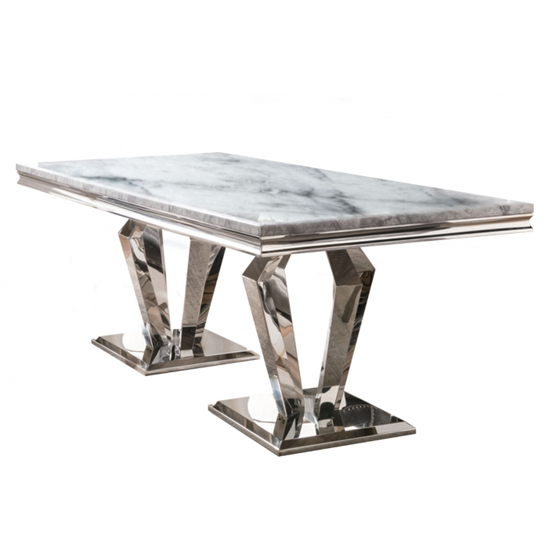 Arlesey Marble Dining Table In Grey With Stainless Steel Legs_1