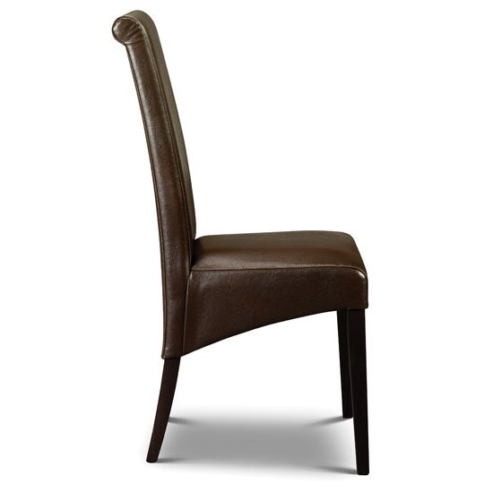 Artemis Faux Leather Dining Chair In Brown With Wenge Legs