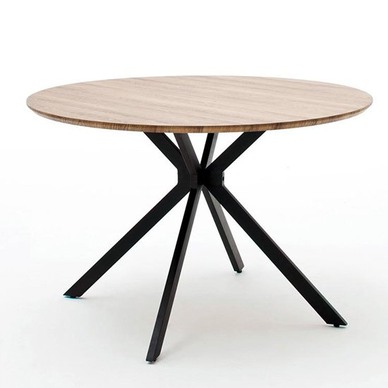 Artois Wooden Dining Table Round In Wild Oak And Anthracite Legs_2