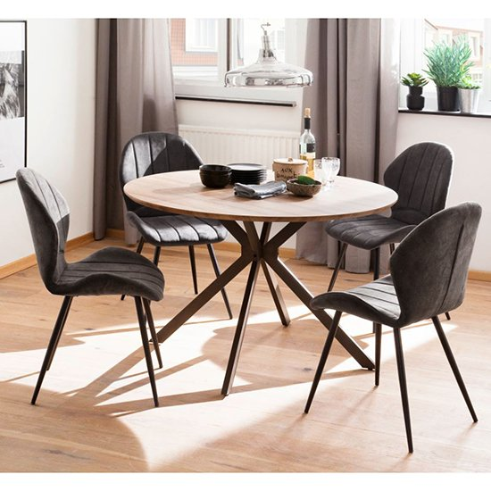Artois Wooden Dining Table Round In Wild Oak And Anthracite Legs_6