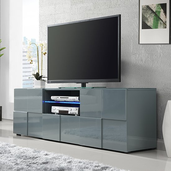 Astra Modern TV Sideboard In Grey High Gloss With LED